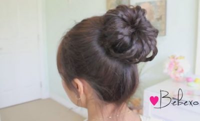 Braided sock bun updo hairstyle