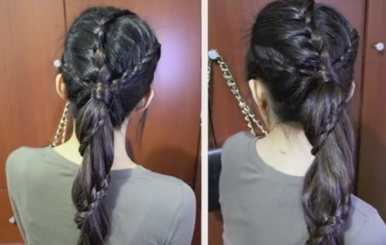 Carousel Winding Lace Braid Ponytail Hairstyle