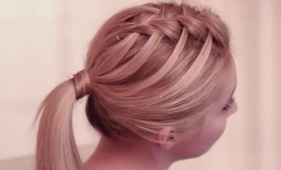 Criss cross waterfall braid hairstyle