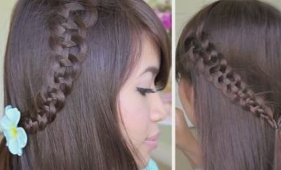 4 strand slide up braid hairstyle