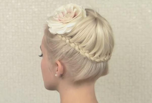 Crown Braid Prom Updo Hairstyle