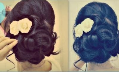 Easy wedding updo with curls