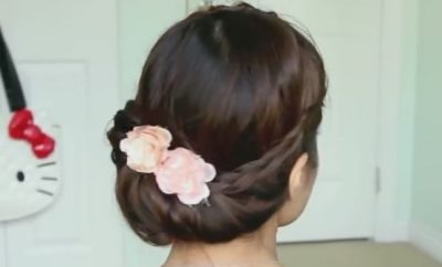 Fold-over Lace Braid updo