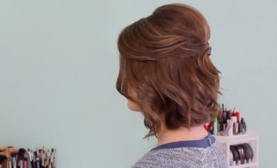 Half up hairstyle for short hair